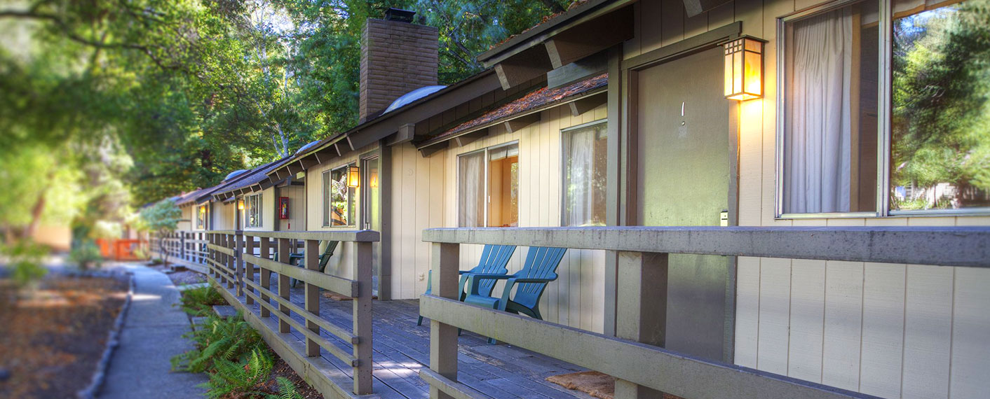 Exterior of rooms at Big Sur Lodge