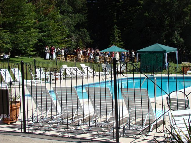 Big Sur Outdoor Wedding With View Of Pool at Big Sur Lodge