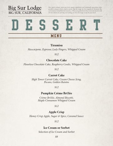 Big Sur Lodge Dessert Menu