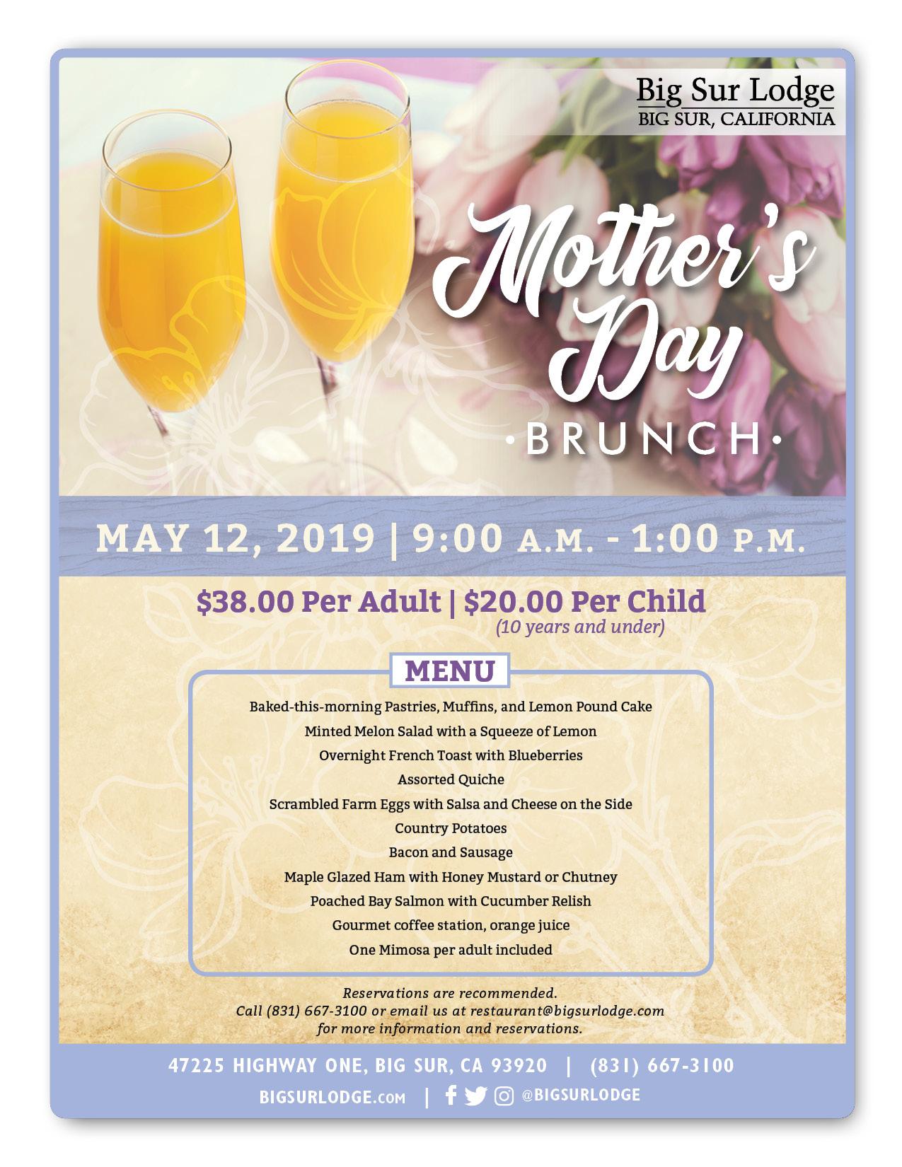 Mother's Day Brunch at Big Sur Lodge